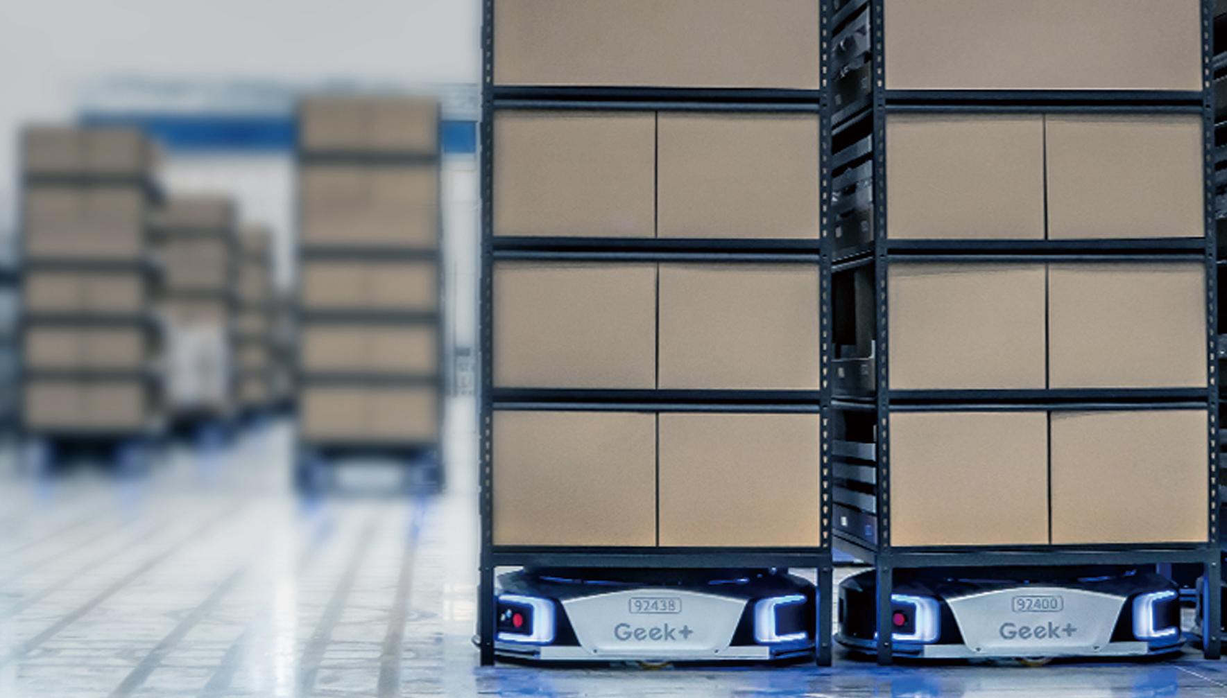 ニュース |  <br>三菱倉庫のEC向け物流センター「SharE Center misato」で<br>ギークプラスの自動棚搬送ロボットが採用
